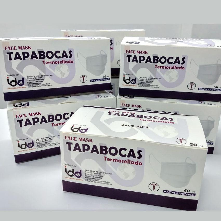 Tapabocas Termosellado Blanco/azul